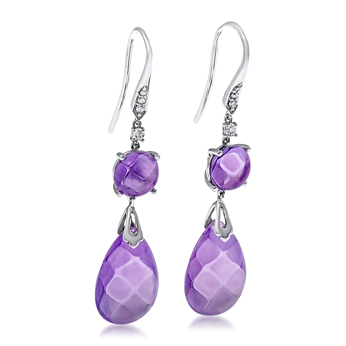 Amethyst earrings checkered