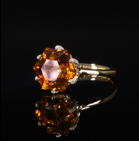Citrine starfish ring